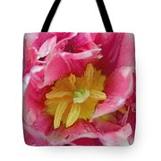 Pink Peony Tulip With Raindrop Tote Bag