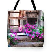 Pink Petunias And Watering Cans Tote Bag