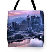 Pink Pittsburgh Morning Tote Bag
