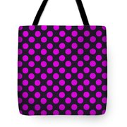 Pink Polka Dots On Black Fabric Background Tote Bag