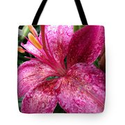 Pink Rain Speckled Lily Tote Bag