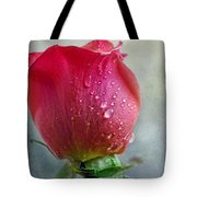 Pink Rose Bud With Drops Tote Bag