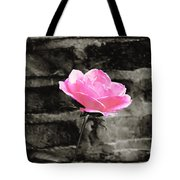 Pink Rose In Black And White Tote Bag