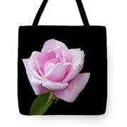 Pink Rose On Black Tote Bag