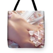Pink Rose Petals On Nude Woman Body Tote Bag