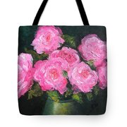 Pink Roses In A Brass Vase Tote Bag