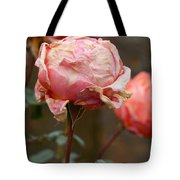 Pink Roses In The First Snow Tote Bag