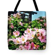 Pink Roses Near Trellis Tote Bag