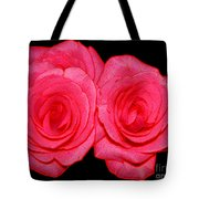 Pink Roses With Colored Edges Effects Tote Bag