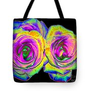 Pink Roses With Colored Foil Effects Tote Bag