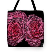 Pink Roses With Dark And Rough Chrome  Effects Tote Bag