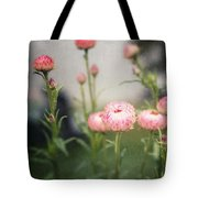 Pink Straw Flowers After A Light Rain Tote Bag