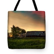 Pink Sunrise. Old Barn An Cherry Blossom Tote Bag