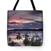 Pink Sunset At The Lake Tote Bag