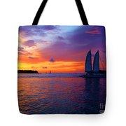 Pink Sunset In Key West Florida Tote Bag by Susanne Van Hulst