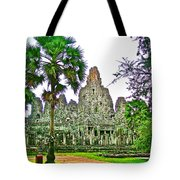 Pink Tower In The Bayon In Angkor Thom In Angkor Wat Archeological Park Near Siem Reap-cambodia Tote Bag