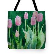Pink Tulips Colorful Flowers Garden Art Original Watercolor Painting Artist K. Joann Russell Tote Bag