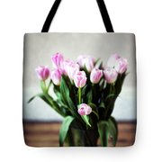 Pink Tulips In A Vase Tote Bag