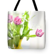 Pink Tulips In Yellow Vase Tote Bag