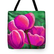 Pink Tulips On Green Tote Bag