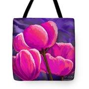 Pink Tulips On Purple Tote Bag