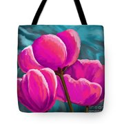 Pink Tulips On Teal Tote Bag