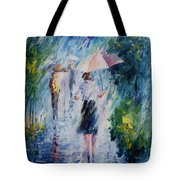 Pink Umbrella - Palette Knife Oil Painting On Canvas By Leonid Afremov Tote Bag