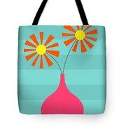 Pink Vase On Blue Tote Bag