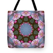 Pink Weeping Cherry Blossom Kaleidoscope Tote Bag