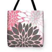 Pink White Grey Peony Flowers Tote Bag