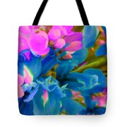 Pink With Blue Irises Tote Bag