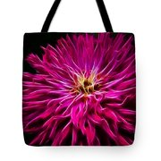 Pink Zinnia Digital Wave Tote Bag