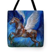 Pinto Pegasus With Blue Mane Tote Bag