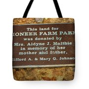 Pioneer Farm Park Plaque At Andersonville Georgia Tote Bag