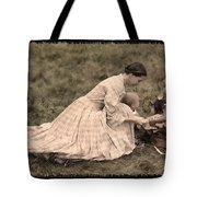 Pioneer Mother And Children Tote Bag