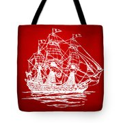 Pirate Ship Artwork - Red Tote Bag