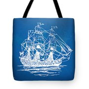 Pirate Ship Blueprint Artwork Tote Bag by Nikki Marie Smith