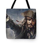 Pirates Of The Caribbean Johnny Depp Artwork 2 Tote Bag