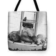 Pit Stop Black And White Tote Bag