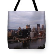 Pittsburgh Aerial Skyline At Dusk Tote Bag