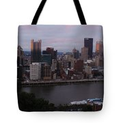 Pittsburgh Aerial Skyline At Sunset 3 Tote Bag