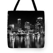 Pittsburgh Black And White Panorama Tote Bag