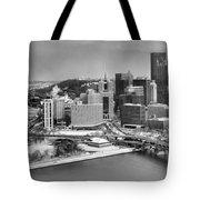 Pittsburgh Black And White Winter Panorama Tote Bag