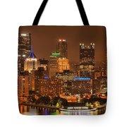 Pittsburgh Lights Under Cloudy Skies Tote Bag
