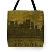 Pittsburgh Pennsylvania City Skyline Silhouette Distressed On Worn Peeling Wood Tote Bag