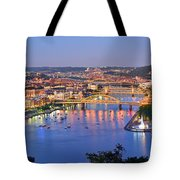 Pittsburgh Pennsylvania Skyline At Dusk Sunset Extra Wide Panorama Tote Bag
