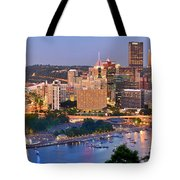 Pittsburgh Pennsylvania Skyline At Dusk Sunset Panorama Tote Bag by Jon Holiday