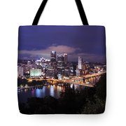 Pittsburgh Skyline At Night From Mount Washington 3 Tote Bag