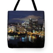 Pittsburgh Skyline At Night From Mount Washington 4 Tote Bag