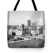 Pittsburgh Skyline From Mount Washington Black And White Tote Bag